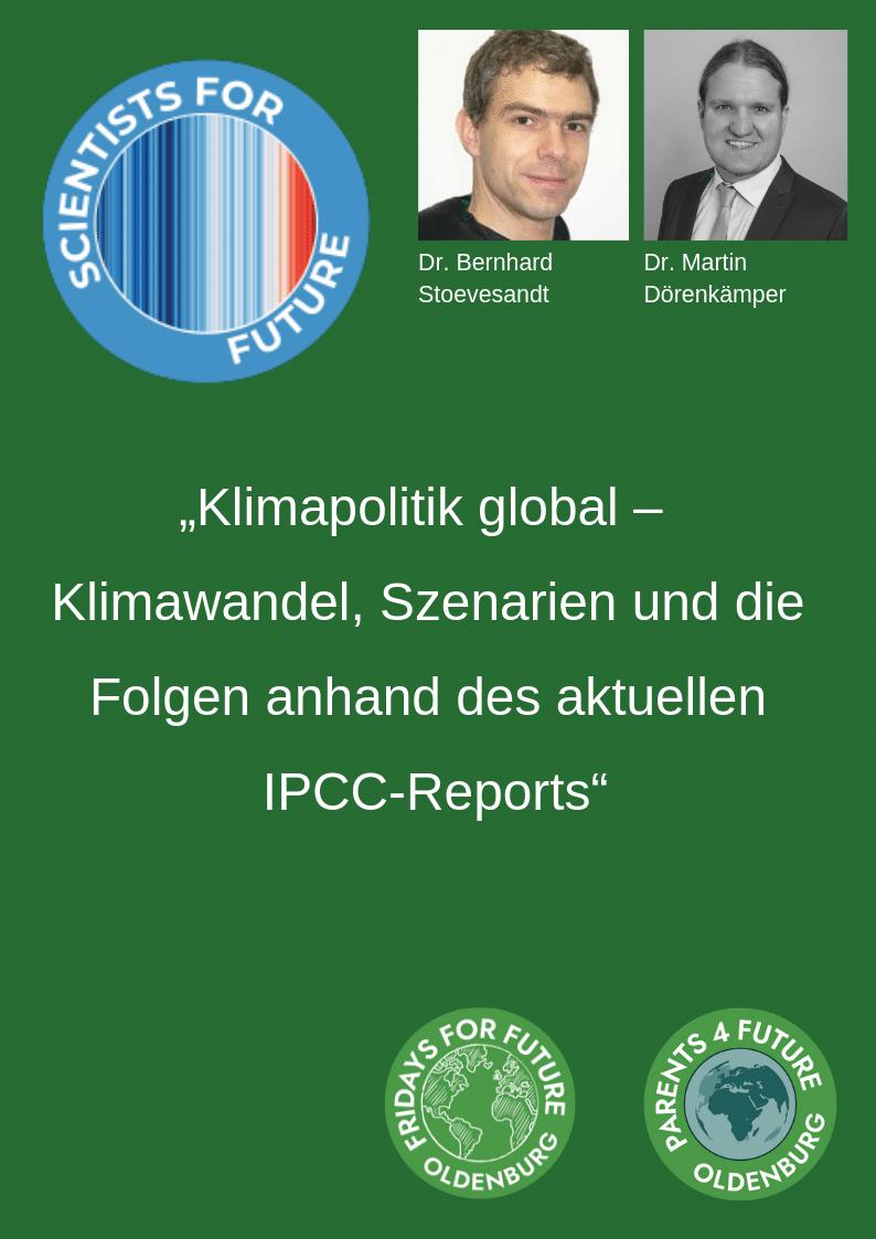"""Bild zu Prologvortrag: """"Klimapolitik global – Klimawandel, Szenarien und die Folgen anhand des aktuellen IPCC-Reports"""", Vortrag von Dr. Bernhard Stoevesandt und Dr. Martin Dörenkämper im Schlauen Haus"""